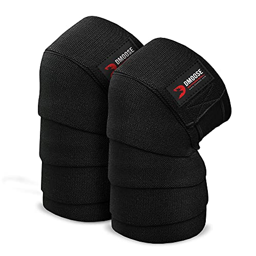 DMoose Knee Support Wraps, Knee Compression Sleeves Women and Men, Knee Compression Sleeve Women, Knee Strap for Football, Volleyball, Jogging, Basketball, and Soccer – Black (Pair)