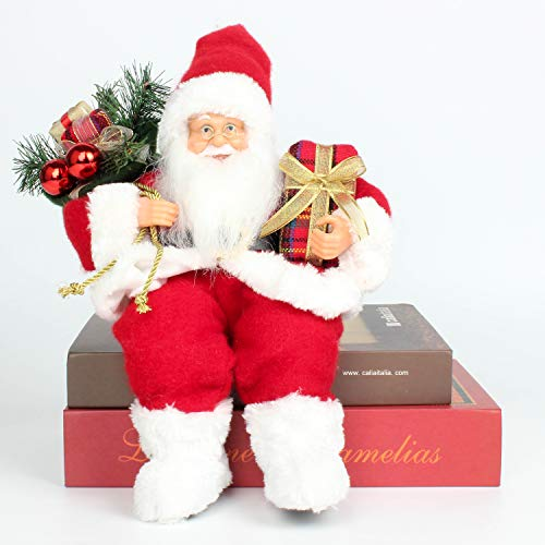Costyleen Christmas Santa Claus Figurine Decoration Medium Size Ornament Enjoyable Gift Doll Toy Table Decor Festival Present - Sitting Posture 13'' Red White
