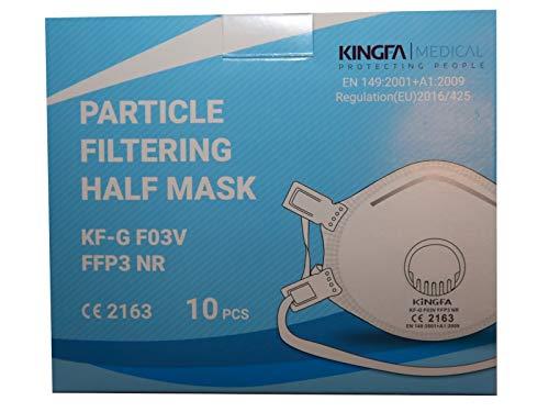 Kingfa FFP3 Atemschutzmaske Schalenform mit Ventil, Box à 10 Masken, KF-G F03V, Bowl Type