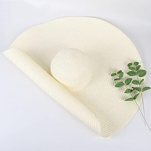 Cappello di paglia a tesa larga da 25 cm Cappelli da spiaggia da donna Moda Donna Estate Nuova protezione UV Cappellino da sole pieghevole Cappellino da sole-White