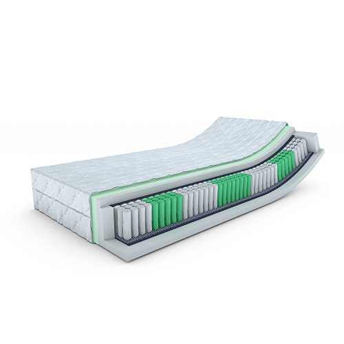 MSS Taschenfederkern-Matratze ECO - H3-200 x 90 x 19 cm Komfortschaum mit versteppten Bezug waschbar bis 60 °C
