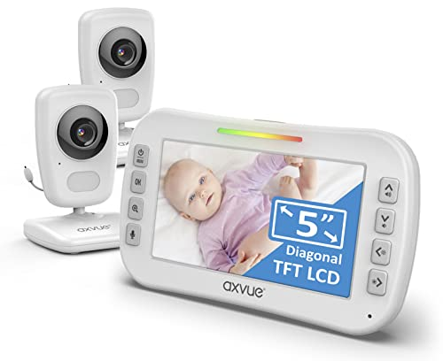 Video Baby Monitor 5' High Resolution Screen, 2 HR Cam, Extra Long Range, Secure...