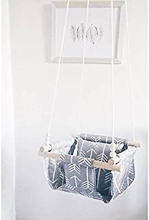 Indoor/Outdoor Gray Arrow Fabric Swing, Nursery Baby Swing
