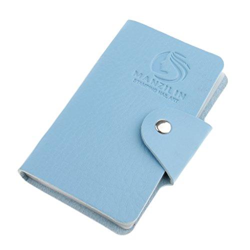 SM SunniMix Nail Art Stamping Image Titulaire De La Plaque Porte-modèle Organisateur De Cas Sac - 24 Emplacements - Bleu
