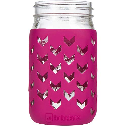 JarJackets Silicone Mason Jar Sleeve - Fits 32oz (1 quart) WIDE-Mouth Jars … (1, Sangria)