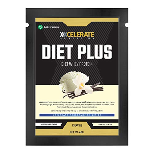 XCelerate Nutrition Diet Shake 20 Sachets Powder Shakes for Weight Loss for Women Men Low Calories Sugar Whey Protein Ultralean Lean Meal Replacement Shake (Vanilla, 20 x Sachets)