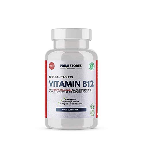 Vitamin B12 Methylcobalamin Fatigue Pills 1000mcg - 60 Vegan Tablets - High Strength Halal Blood Circulation Supplement Vitamins by Primestores