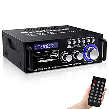 180W Wireless Bluetooth Stereo Amplifier Sunbuck Dual Channel Sound Power Audio Receiver w/USB SD Card FM Radio for Home Theater Entertainment Speakers with Remote Control  AS-25BU