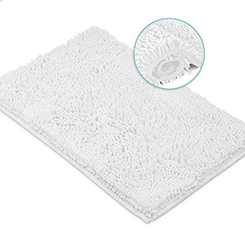 White Bath Mat by LuxUrux, Extra-Soft Plush Bath Shower Bathroom Rugs, 1'' Microfiber Chenille, Super Absorbent Shaggy Bath Rug. Machine Wash & Dry. 15 x 23'', White