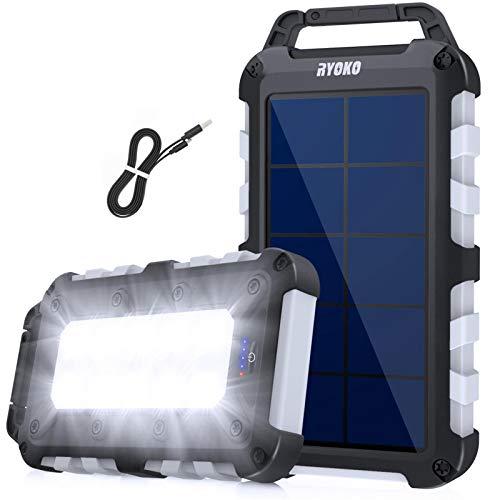 RYOKO Power Bank solare da 20000 mAh, Caricabatterie Solare Portatile ricarica rapida con 2 uscite 2.1 A ad alta capacità con torcia LED, Impermeabile per smartphone, tablet and more (grigio)