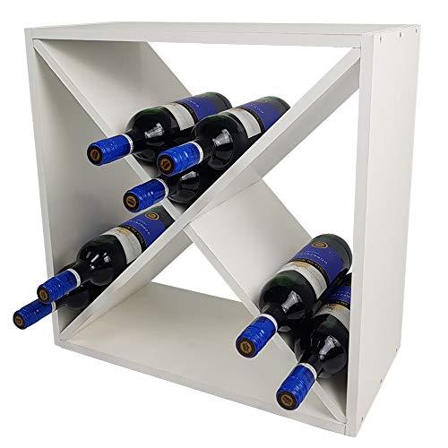 DILUMA Weinregal Bacchus X-Cube 52 x 52 x 25 cm Weiß für 24 Flaschen - Flaschenregal mit X-Form - Weinständer - Kiefernholz
