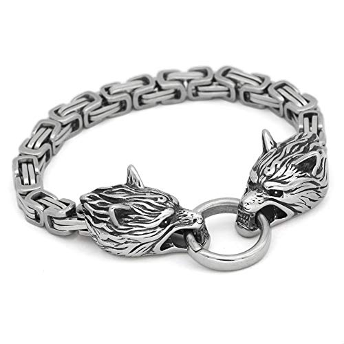 Ancient Treasures Viking Wolf Head Bracelet | Durable Stainless Steel | Handmade and Smooth Polished | Norse Odin Symbol | Elegant Design | Ancient Viking Culture Jewelry | 3 Different Sizes