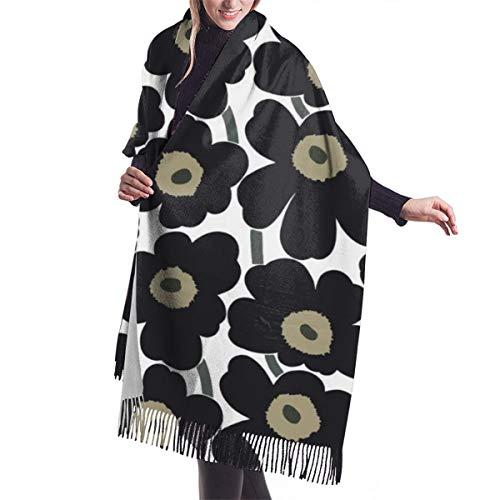 Marimekko Damen Großer weicher Kaschmir-Schal elegant bequem Winter Schal Warm Wraps Schal – Unikko Baumwolle