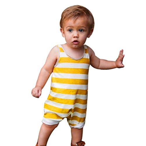 K-youth Niño Bebe Monos Ropa Bebe Niño Verano Ropa Bebe Recien Nacido Bebé Niño Niña Rayas Mameluco Lindo Mono Escalada Ropa Bebé Unisex Mono Sin Manga Bodies 0-24 Meses