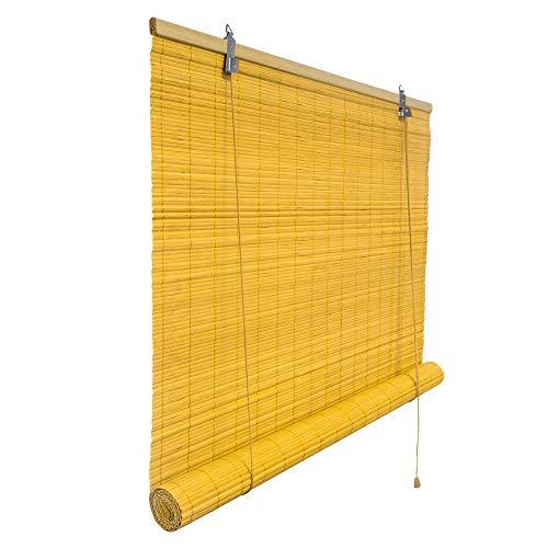 Victoria M. Klemmfix Bambusrollo 140 x 160 cm in Bambus, Sichtschutz Rollo ohne Bohren für Fenster und Türen