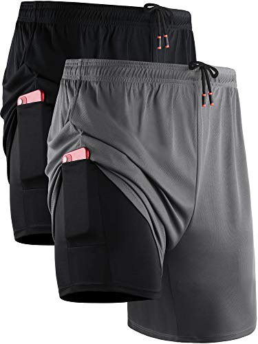 Neleus Men's 2 in 1 Running Shorts with Liner,Dry Fit Workout Shorts with Pockets,6070,2 Pack,Black/Grey,US L,EU XL
