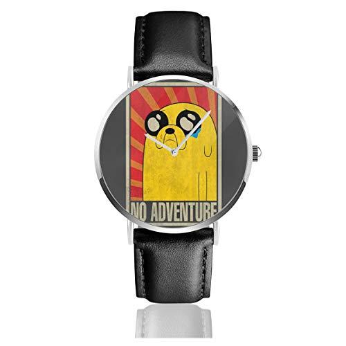 Unisex Business Casual Adventure Time No Adventure sowjetische Uhren Quarzuhr Leder mit schwarzem Lederband für Männer und Frauen Young Collection Geschenk