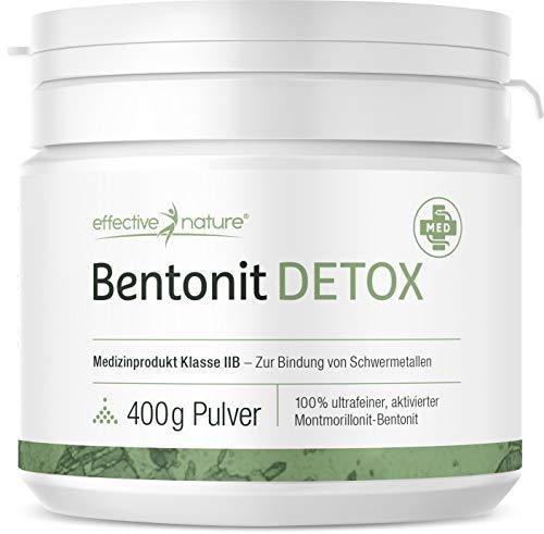 effective nature - Bentonit Detox - Zertifiziertes Medizinprodukt zur Bindung von Schwermetallen im Körper - 100% ultrafein - 3-mal 400 g Pulver