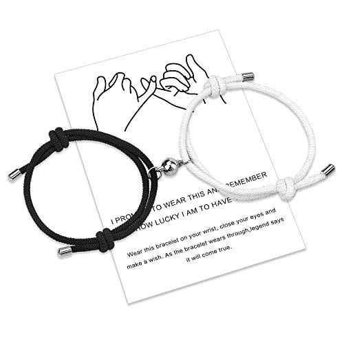 Free space Magnetic Couples Bracelet Set Mutual Attraction Handmade Rope for 2 Braided Matching Bracelets Vows of Eternal Love Jewellery Gift for Women Men (Black-White)