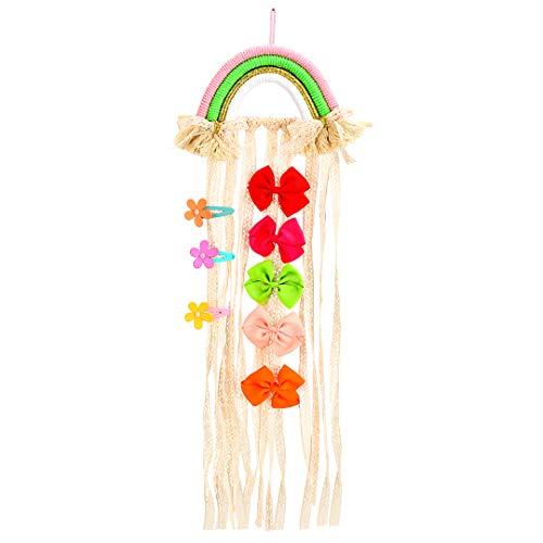 Eenhoorn Haar Boog Houder Organizer voor Baby Meisje, Regenboog Haar Clip Accessoires Opslag Eenhoorn Decoraties voor Thema Party Regenboog-Roze