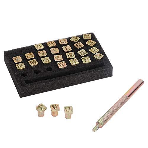 Shipenophy Herramienta de Sello de Cuero de Sello de Metal de 6 mm, Perforadora de Letras, Manualidades Hechas a Mano de Cuero DIY, artesanía de Cuero
