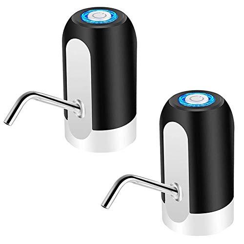 Hengqiyuan Wasserpumpenspender, Wasserflasche Pumpe USB Wiederaufladbare Universal Fit Wasserkanne elektrische Tragbare Trinkwasserpumpe für Home Office RV Camping Grill Outdoor und Indoor,2xblack