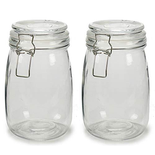 2 x Botes de Cristal para Cocina de 1 litro con Cierre Muy Hermético de Clip con Junta de Silicona. Tarros de Vidrio con Tapa. Pack 2 Unidades. Conserva y Preserva (2)