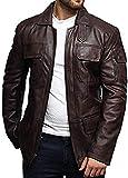 BRANDSLOCK Para Hombre del Motorista Chaqueta de Cuero Negro y marrón Larga Chaqueta (XXXX-Large, Marron)