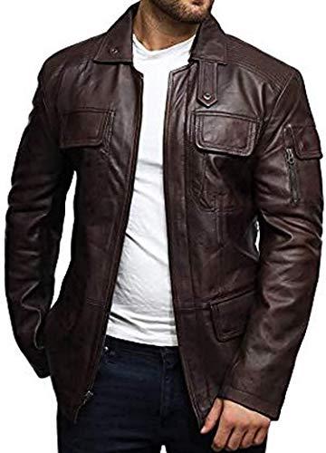 BRANDSLOCK Herren Leder Biker Jacke Vintage Lange Lederjacke Schwarz und Braun (XL, braun)
