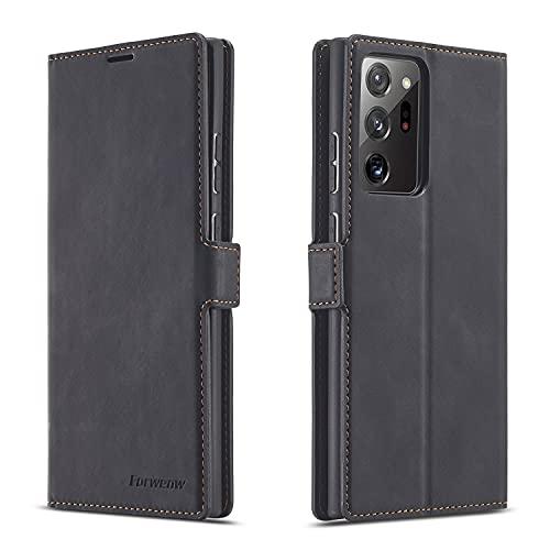 AHUOZ Funda de piel sintética multifunción para Samsung Galaxy Note20 Ultra, 2 en 1 con tapa magnética y función atril, carcasa inferior de TPU con ranura para tarjeta
