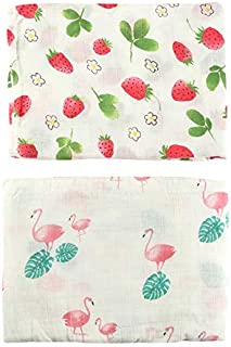 monfish Muslin Swaddle Blankets Baby Girls Summer Strawberry Blanket 70% Bamboo 30% Cotton 47x47inch (Girl Flamingo)