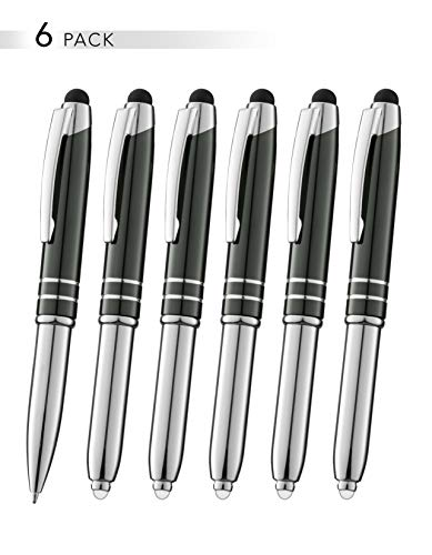 SyPen Stylus Pen for Touchscreen Devices, Tablets, iPads, iPhones, Multi-Function Capacitive Pen with LED Flashlight, Ballpoint Ink Pen, 3-in-1 Metal Pen, 6PK, Gunmetal