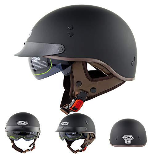 FlyingBoy Vintage Motorcycle Helmet, German Style Half Helmet Motorbike Cruiser Scooter Cool Helmet DOT Approved,XL