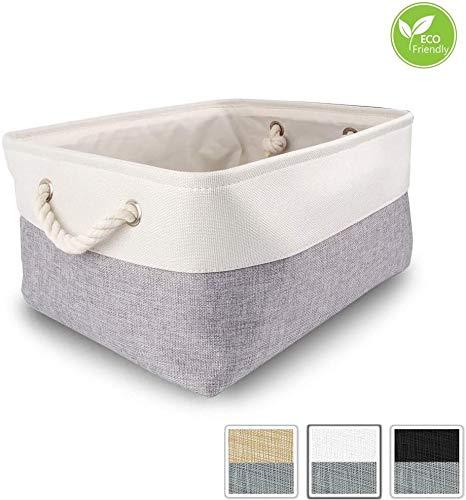 Mangata aufbewahrungskorb Stoff, aufbewahrungsbox groß Schrank, Korb aufbewahrung Stoff mit Baumwolle Seil für Spielzeug, kleiderschrank, Regale, Kleidung (Faltbare, Grau Weiß)