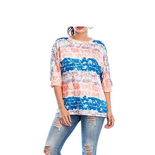 Tie-Dye Bedruckte Hutlose Pullover Frauen Verlieren Großes Hemd 3/4 ärmel Lässig T-Shirt