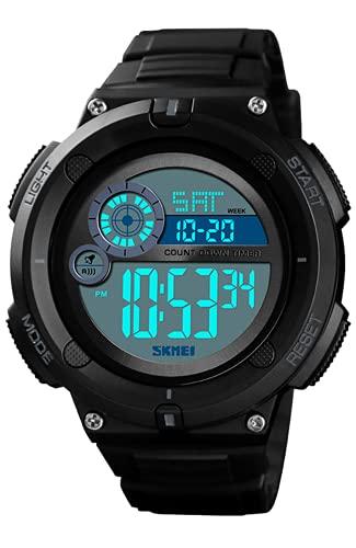 Reloj Digital Niños, 50M Impermeable Relojes de Pulsera de Grande para Niños Adolescentes, Relojes Deportivos para Hombre con LED/Temporizador/Alarma/Cronómetro Negro