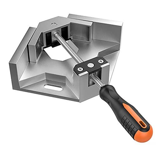 Abrazadera de ángulo recto, de aleación de aluminio, abrazadera de esquina con mango, ajustable, mordaza oscilante, tensor de ángulo para edición de madera, marco de fotos, tornillo de banco