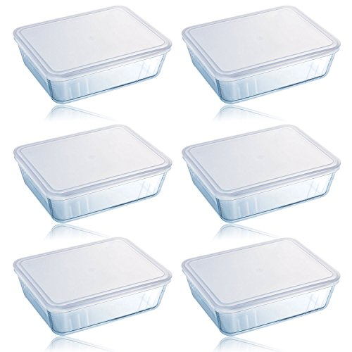 Pyrex Cook & Store 6 Piece 0.8L Rectangular Glass Baking Dish With Plastic Lid