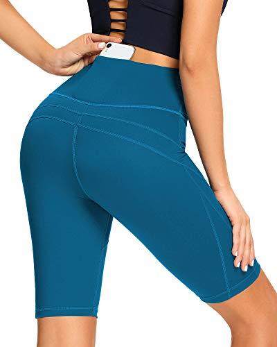 AS ROSE RICH Biker Shorts for Women High Waist - 3 Pockets Spandex Workout Shorts Women - Regular and Plus Size Seaport L