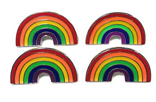 FizzyButton Gifts Set of 4 Rainbow Lapel Pin Badge Brooch with Silver Tone Backs