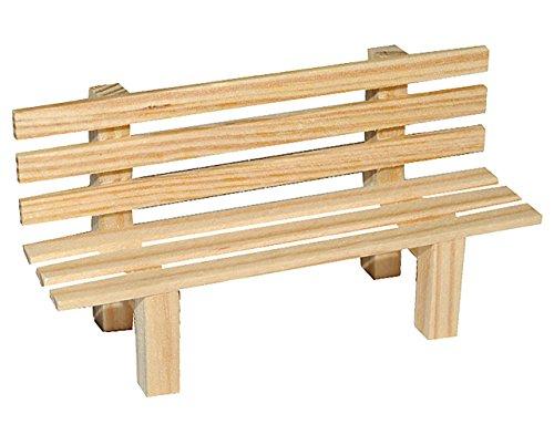 alles-meine.de GmbH Miniatur Gartenbank / Bank aus Holz - für Puppenstube Maßstab 1:12 - Puppenhaus Puppenhausmöbel Gartenmöbel Deko Garten