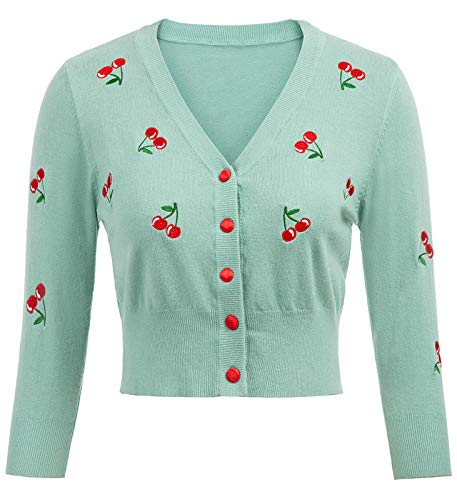 3/4 Sleeve Cardigans for Women Cropped Knitting Coat Knitwear Cadetblue Cardigan Sweaters Size M Mint