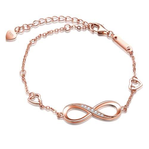Pulseras de plata 925 para mujer y niña, pulsera con símbolo de infinito, pulsera de corazón ajustable, con incrustaciones de circón, regalo de cumpleaños de Navidad
