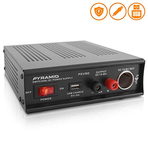 Universal Compact Bench Power Supply - 9 Amp Regulated Home Lab Benchtop AC-DC Converter Power Supply for CB Radio, HAM w/ 13.8 Volt DC 115/230V AC Switchable, USB, Cigarette Lighter - Pyramid PSV90