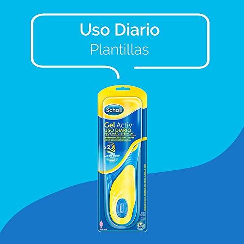 Scholl Plantillas Gel Activ Uso Diario para mujer, para el dia a dia, mayor comodidad y absorción del olor y sudor, talla 35.5 - 40.5, 1 par (2 plantillas)