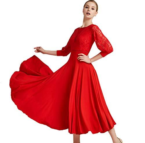 ZYLL Neue Ankunfts-Standardtanz-Kleid Tango/Walzer-Tanz-Klage-Dame Standard-Gesellschaftstanz Costumen Mädchen Performance-Anzug,Rot,S