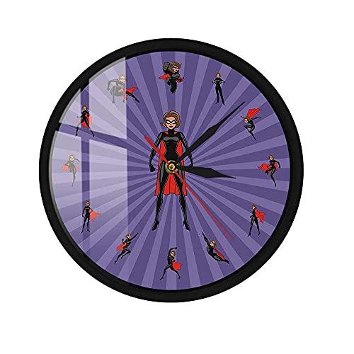Control de Sonido LED Reloj de Pared Heroine Mom Comic Marco de Metal Mujer Superhéroe Decoración de la Pared de la habitación de los niños 12 Pulgadas