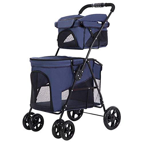 Huisdier Travel kinderwagen, huisdier auto stoel ademende dubbele laag, 2 zwenkwielen lichtgewicht Pushchair Pram Jogger voor Puppy Cat huisdieren, 51 * 73 * 107cm, Blauw