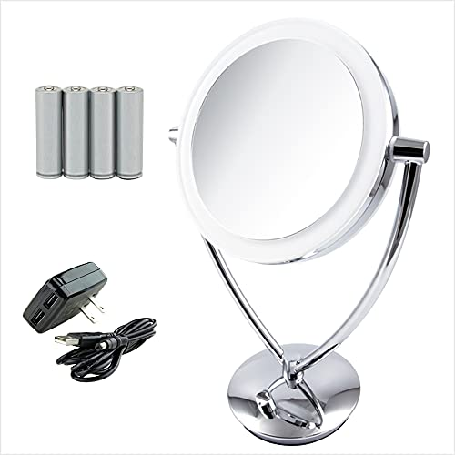 Ovente LED Lighted Makeup Mirror 7.5 Inch Table Top 1X 10X Magnifier Dimmable illuminated Adjustable Circle 360 Degree Double Sided Acrylic Edge Battery USB Operated Large Polished Chrome MLT75CH1X10X