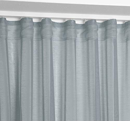 BEAUTEX Vorhang mit U-Band 140x250 cm (Farbe Wählbar) transparente Kräuselband Gardine, Dolly (Grau)